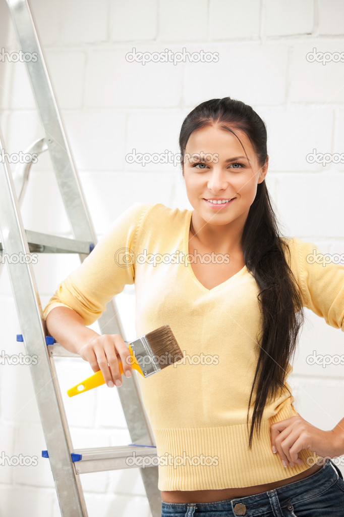 Bright picture of lovely housewife painting at home — Stock Photo #9956181