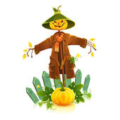 Cartoon vector illustration of scarecrow isolated on white background. — Stock Vector