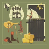 Paardensport set. — Stockvector