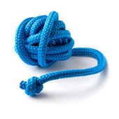 Ball of blue gymnastic rope — Stock Photo