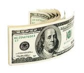 Pilha de e.u. de notas de cem dólares. — Foto Stock