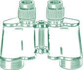 Vintage binocular. Technical drawing. — Stock Vector