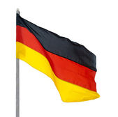 Flag of Germany, fluttered in the wind. — Stock Photo