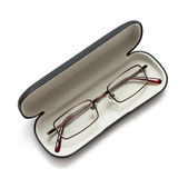 Glasses in a case on white — Stock Photo