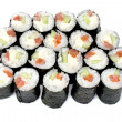 Maki sushi rolls with salmon and California cheese — Stock Photo