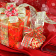 Red present box and Christmas decoration — Stock Photo #8563109