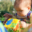 Baby lying in the grass and playing with blocks — Stock Photo