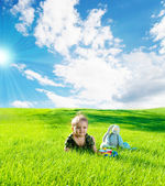 Baby on grass — Zdjęcie stockowe