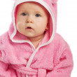 Baby in pink bathrobe - Stok fotoğraf