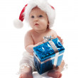 Baby with blue present box — Stock Photo