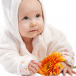 Stock Photo: Lovely baby with flower