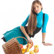 Brunette and basket with apples — Stock Photo