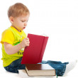 Boy reading books — Stock Photo