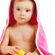 Baby in towel — Stock Photo