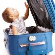 Baby in suitcase — Stock Photo