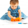 Kid wiping a board — Stock Photo
