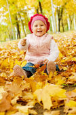 Ridendo kid autunno — Foto Stock