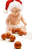 サンタの帽子の赤ん坊 — ストック写真
