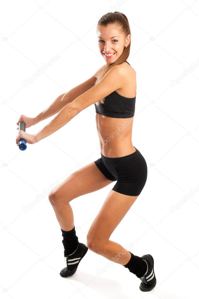 Happy young woman doing her exercises — Stock Photo #8631960