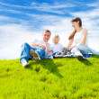 Happy family on grass — Foto de Stock