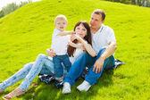 草地上的家庭 — 图库照片