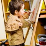 Kid painting — Stock Photo