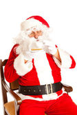 Santa Claus with coffe cup — Stock Photo