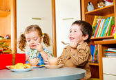 Children having tea — Stock Photo