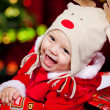 Baby in deer hat — Stock Photo