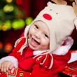 Baby in deer hat - Foto Stock