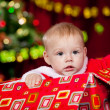Toddler in Christmas present box - Foto de Stock