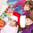 Teenagers making Christmas presents — Stock Photo