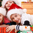 Kids in Christmas hats - Stok fotoğraf
