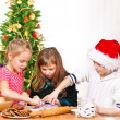 Kids making  Christmas  cookies — 图库照片