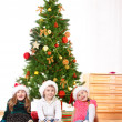 Stock Photo: Little friends in Santa hats