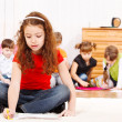 Children group drawing — Stock Photo