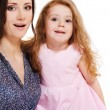 Mother and girl looking astonished — Stock Photo