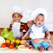 Three little cooks — Stock Photo