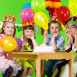Kids group and  birthday cake - Stok fotoğraf
