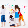 Kids painting wall — Stock Photo #8689793