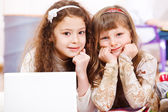 Two school aged girls — Stock Photo