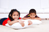 Children with pillows — Stock Photo