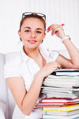 Teen with textbooks — Stock Photo