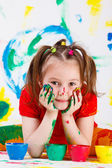 Girl with face and hands painted — Stock Photo