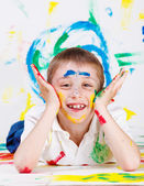 Boy painted — Stock Photo