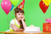 Girl in party cap — Stock Photo