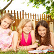 Girls in the backyard — Stock Photo