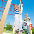 Stock Photo: Boy swinging on the rope
