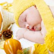 Foto Stock: Newborn kid among pumpkins