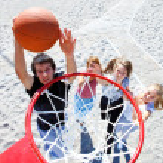 Teenagers playing basketball — Stock Photo #8692142